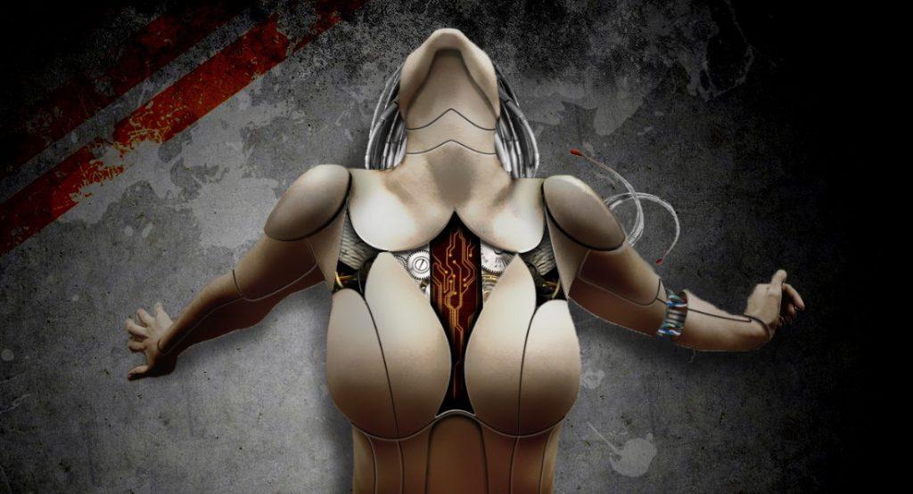 Donna androide con la testa verso l'alto