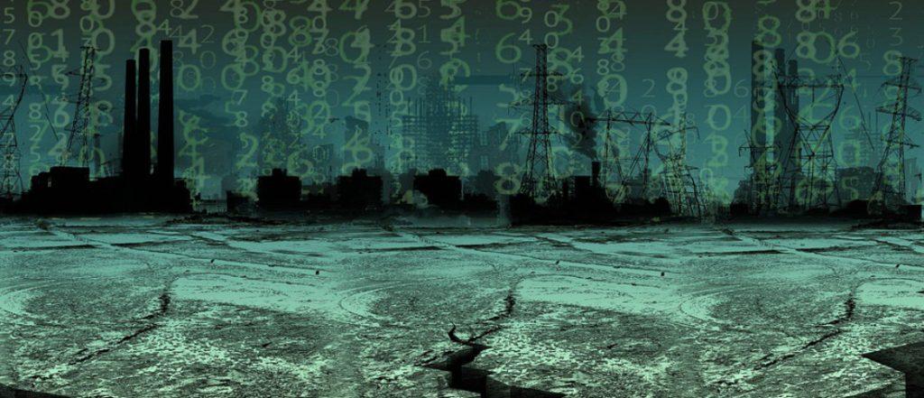 Paesaggio fantascientifico con dei numeri sullo sfondo
