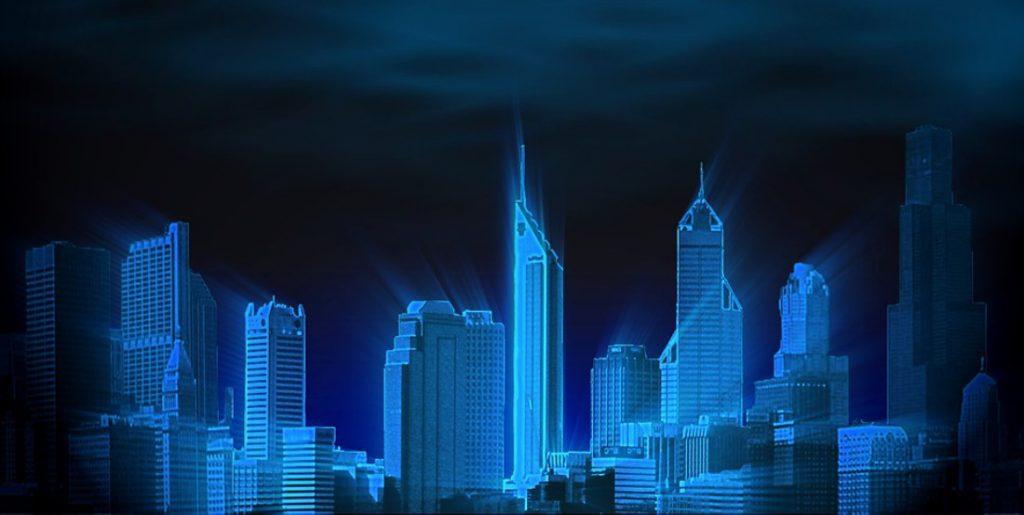 Raffigurazione di una città cyberpunk