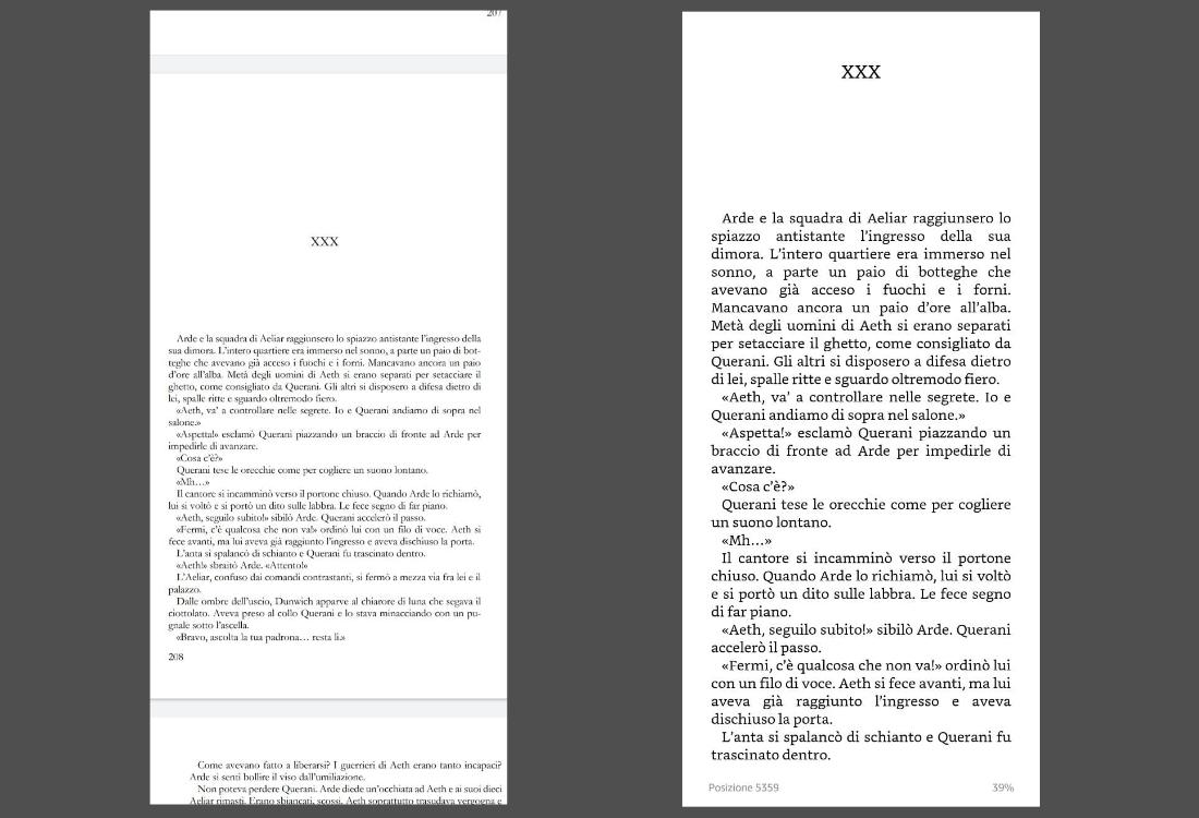 Paragone tra PDF su telefono e libro in formato Kindle