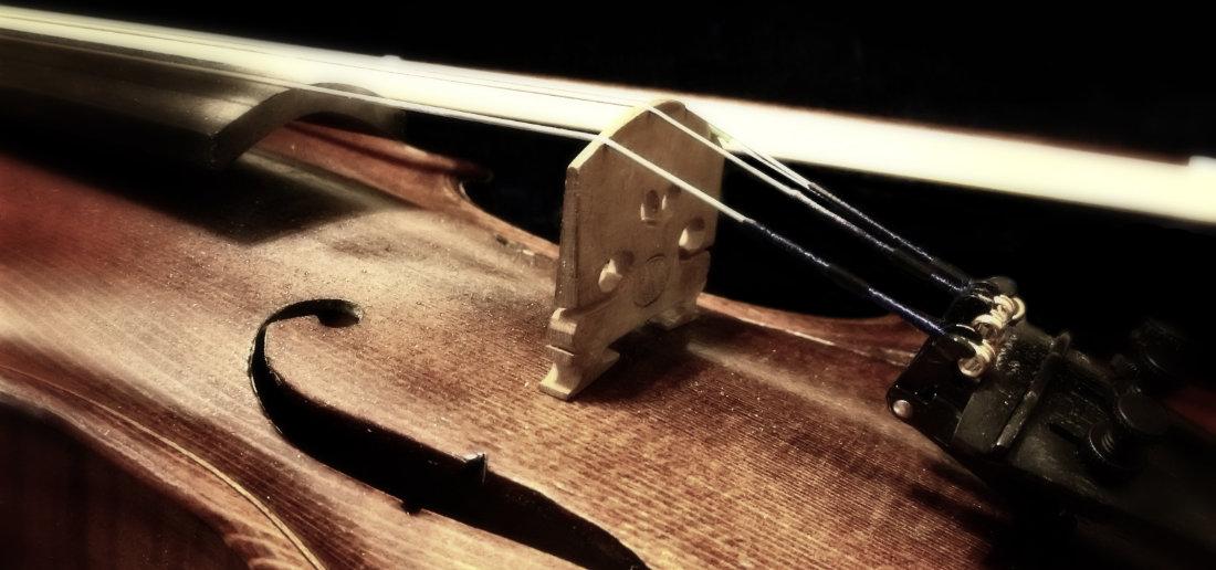 Corde di un violino in legno