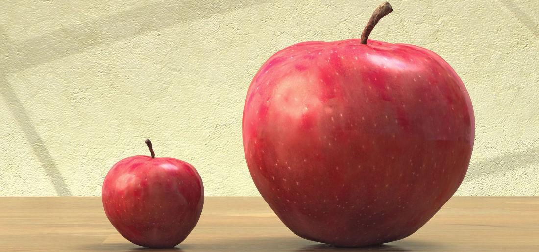 Due mele posizionate accanto